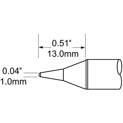 ראש לידית מלחם - METCAL SCV-CNL10 - CONICAL 1MM METCAL