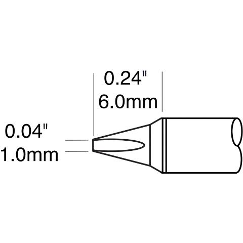 ראש לידית מלחם - METCAL STTC-125P - CHISEL 1MM METCAL
