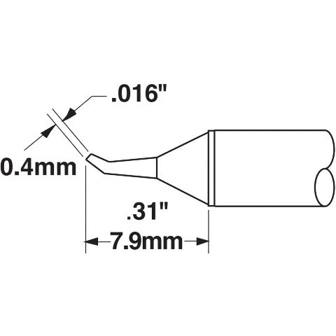 ראש לידית מלחם - METCAL STTC-126 - CONICAL 0.4MM METCAL