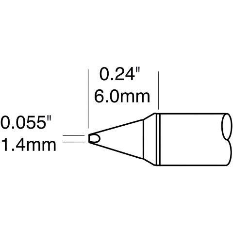 ראש לידית מלחם - METCAL STTC-138P - CHISEL 1.4MM METCAL
