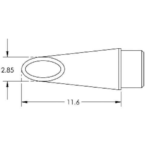 ראש לידית מלחם - METCAL SMTC-0186 - HOOF 2.85MM METCAL