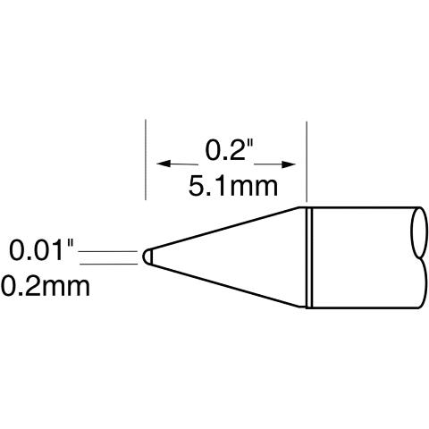 ראש לידית מלחם - METCAL UFTC-7CN02 - CONICAL 0.2MM METCAL