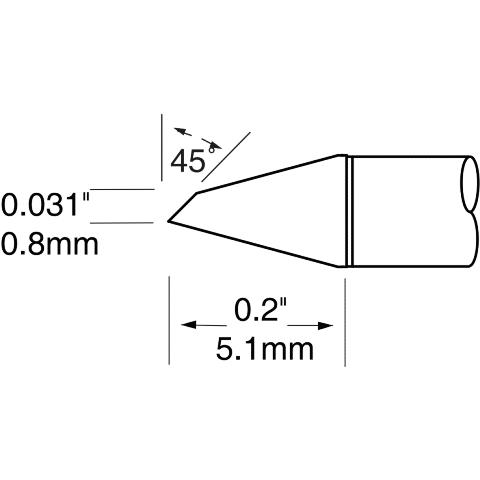 ראש לידית מלחם - METCAL UFTC-7DRH408 - HOOF 0.8MM METCAL