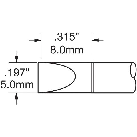 ראש לידית מלחם - METCAL PHT-751384 - CHISEL 5.08MM METCAL
