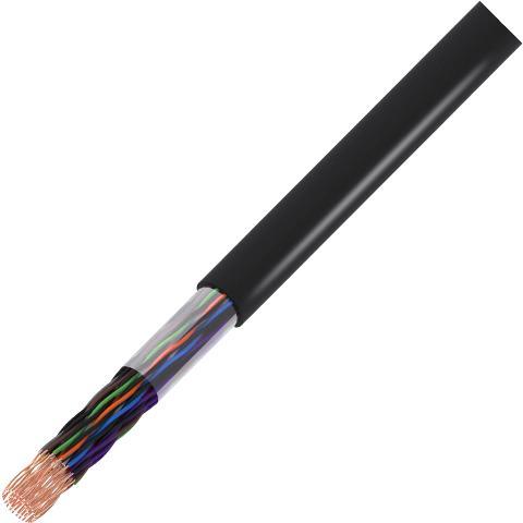 כבל תקשורת קשיח - 25X0.51MM² - CAT5E UTP - בידוד שחור PRO-POWER