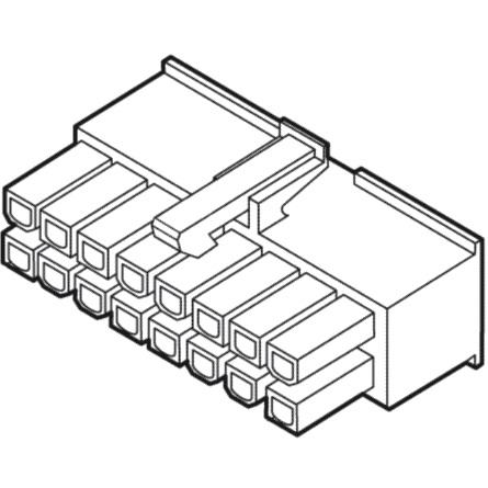 מחבר MOLEX ללחיצה לכבל - סדרת MINI-FIT JR - נקבה 2 מגעים MULTICOMP