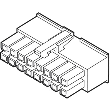 מחבר MOLEX ללחיצה לכבל - סדרת MINI-FIT JR - נקבה 16 מגעים MULTICOMP