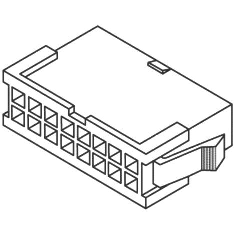 מחבר MOLEX ללחיצה לכבל - סדרת MINI-FIT JR - זכר 16 מגעים MULTICOMP