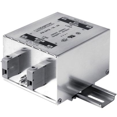 מסנן EMC / RFI עם חיבור לפס דין - סדרה 16A - FN2412 SCHAFFNER