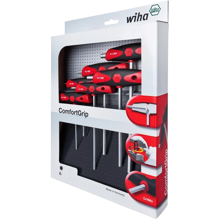 WIHA 6PCS T-HANDLE METRIC HEXAGON DRIVER SET - 334 DSK6