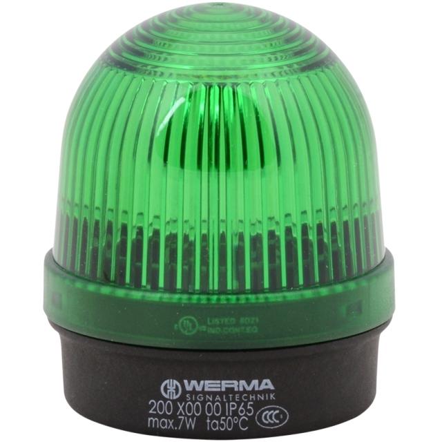 מנורת התראה ירוקה קבועה - (7W , 12V ~ 240V (AC/DC WERMA