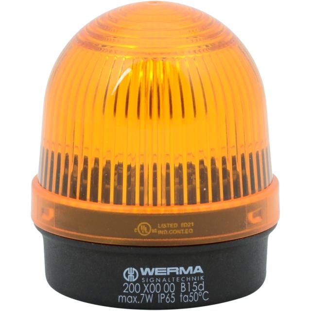 מנורת התראה כתומה קבועה - (7W , 12V ~ 240V (AC/DC WERMA