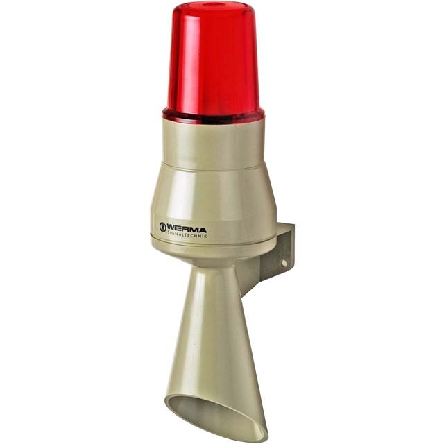 מנורת התראה קבועה אדומה עם סירנה - 24VDC , 7W , 92DB WERMA