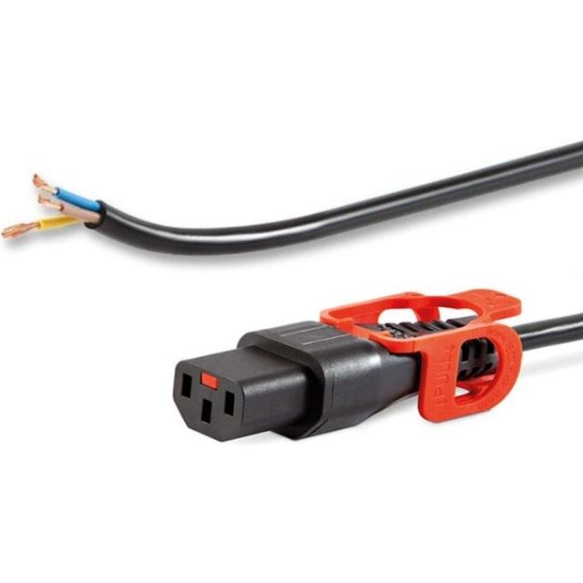 כבל חשמל יצוק עם נעילת +2M , IEC C13 ~ SE BARE - IEC LOCK SCHAFFNER