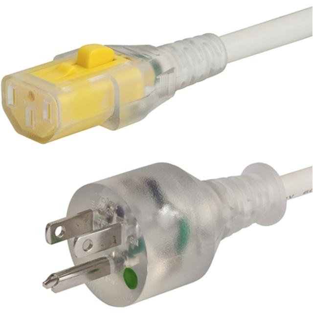 כבל חשמל יצוק עם נעילת 3M , IEC C13 ~ US PLUG - V-LOCK SCHURTER