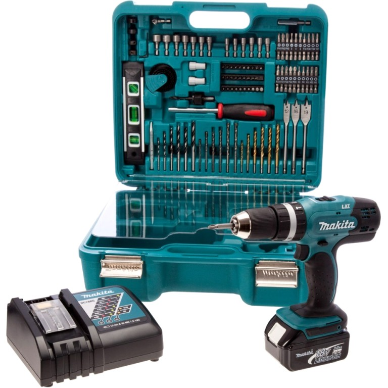 MAKITA 18V CORDLESS COMBI DRILL WITH 101 PIECE ACCESSORY SET - DHP453RFTK
