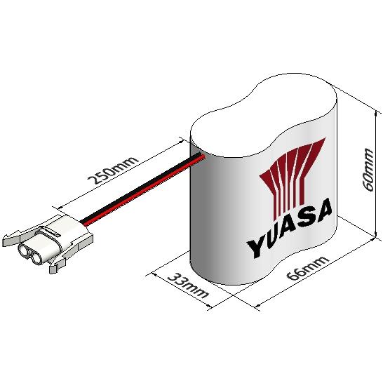 סוללה תעשייתית נטענת - YUASA 2DH4-0LAP3 - 2.4V 4AH YUASA
