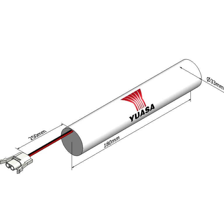 סוללה תעשייתית נטענת - YUASA 3DH4-0LA4 - 3.6V 4AH YUASA