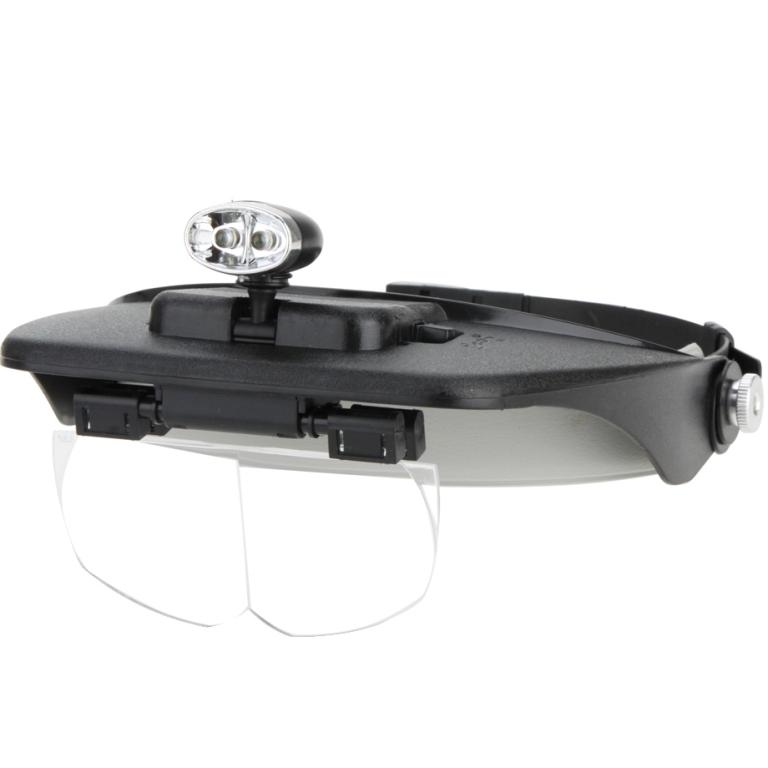 משקפי הגדלה עם 4 עדשות מתחלפות ותאורת LED קדמית LIGHTCRAFT