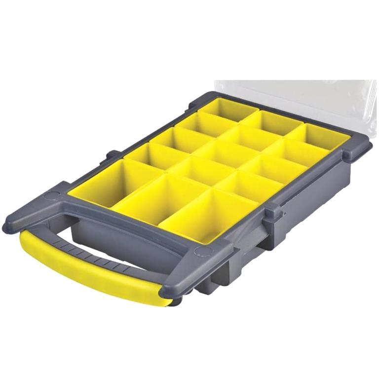 קופסת אחסון לרכיבים עם 15 תאים נשלפים 210X338X62MM DURATOOL
