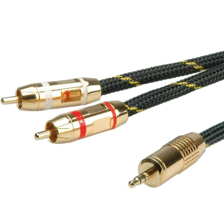 כבל אודיו - (5M - 3.5MM ST (M) - 2XRCA (M ROLINE