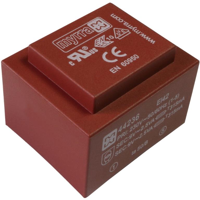 שנאי יצוק למעגל מודפס - 230V ⇒ 2X12V - 1250MA / 30VA MYRRA