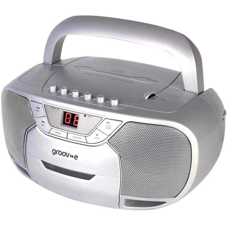 GROOV-E CD / RADIO BOOMBOX WITH CASSETTE PLAYER - GVPS823