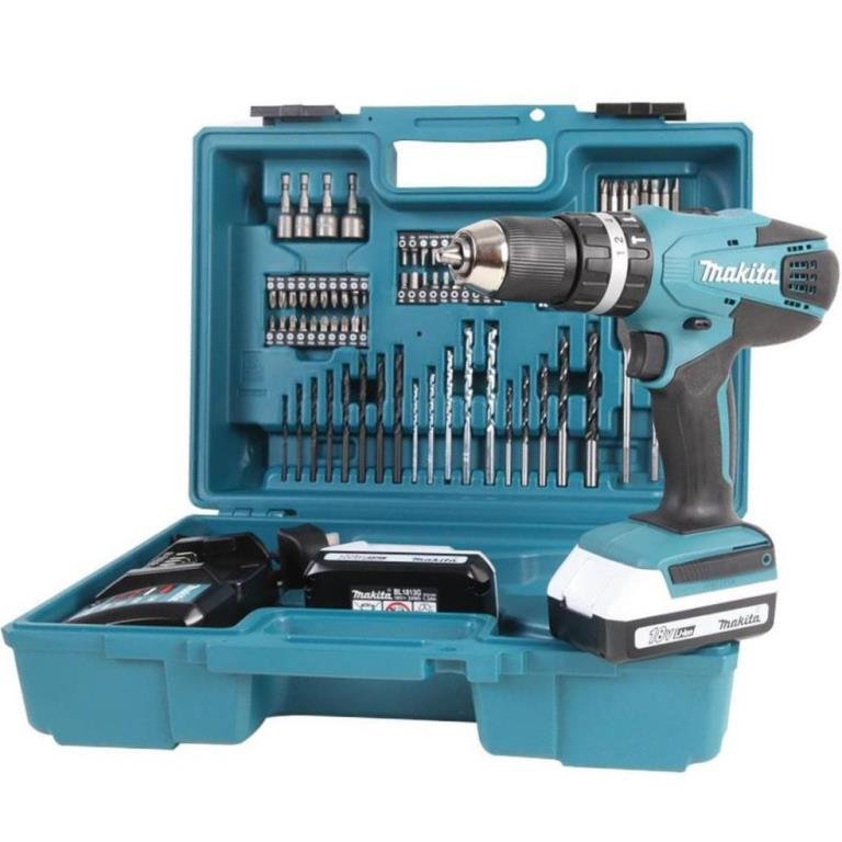 MAKITA 18V CORDLESS COMBI DRILL WITH 74 PIECE ACCESSORY SET - HP457DWE10
