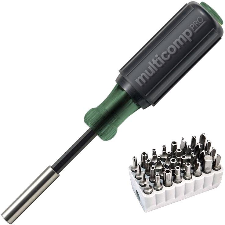 MULTICOMP PRO SCREWDRIVER SET WITH 32 TAMPERPROOF BITS - MP700128