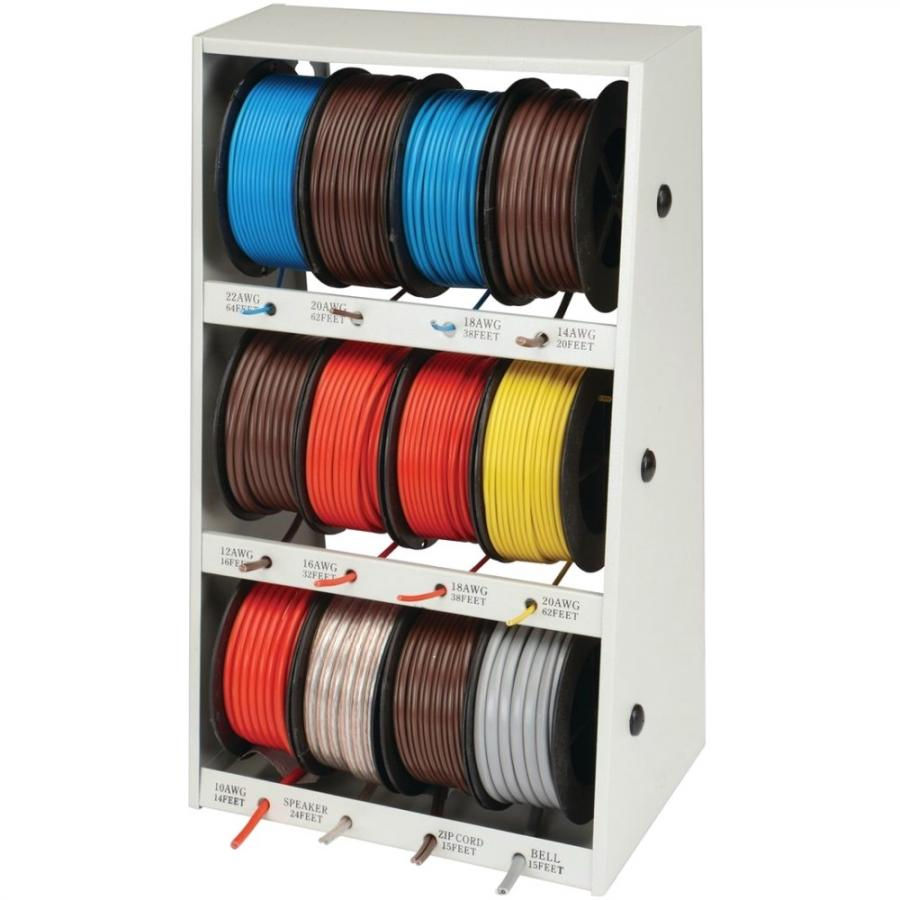 GRIP ON TOOLS 12 SPOOL AUTOMOTIVE WIRE ASSORTMENT WITH STEEL RACK - 43111