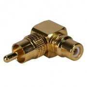 מתאם RCA PLUG - RCA SOCKET RIGHT ANGLED